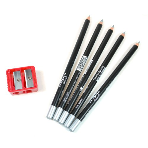 5 SILVER ITALIA EYE LIP LINER PENCIL 1005 SET + FREE SHARPENER & FREE EARRING