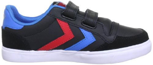 hummel STADIL JR. VELCRO LOW 63-675-2640 - Zapatillas de deporte de cuero para niños Negro (Black/Blue/Red/Gum)