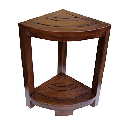 ALATEAK Corner Teak Wood Bath Spa Shower Stool Corner Table Bench Stool Fully Assembled Brown