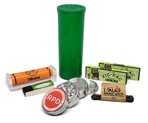 Zig Zag Organic Hemp 1 1/4 Rolling Paper (2 Packs) with Roller, Grinder, Storage Container, Tips and Small Ital Hemp Wick - 7 Item Bundle