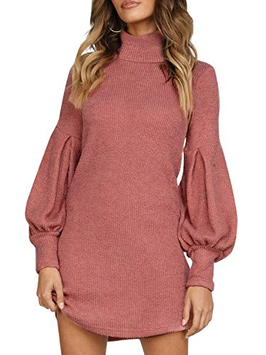 Simplee Women's Winter Warm Loose Turtleneck Oversized Pullover Sweater Dress (4/6, Brick red) (Turtleneck Dress Sweater Womens)