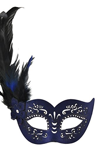 Pure Seasons Feathered Divinity Masquerade Mask (Blue)-Standard (Feathered Masquerade Mask)