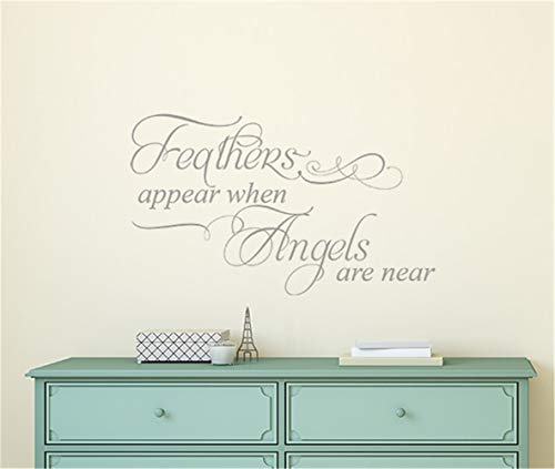 xiloda Wall Stickers Art Decor Decals Feathers Appear When Angels are Near for Living Room Bedroom