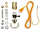 Lamp Base Socket Kit - Electrical Wiring Set to Make, Repair and Repurpose Lamps - Rewire a Vintage Lamp or Create a Custom Light From Scratch - Glossy Brass Socket with an 8 Foot Long Gold Cord