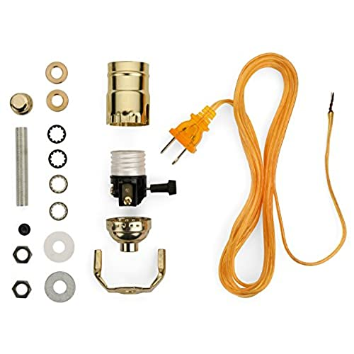 Lamp parts for repair amazon lamp base socket kit electrical wiring set to make repair and repurpose lamps rewire a vintage lamp or create a custom light from scratch glossy aloadofball Choice Image