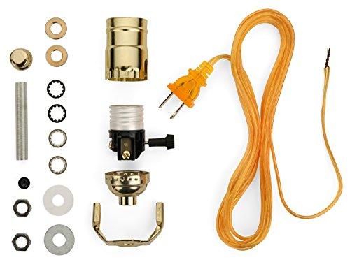 (Lamp Base Socket Kit - Electrical Wiring Set to Make, Repair and Repurpose Lamps - Rewire a Vintage Lamp or Create a Custom Light From Scratch - Glossy Brass Socket with an 8 Foot Long Gold Cord)