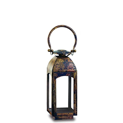 Pilgrim Home and Hearth 17526 Camdon Tall Candle Lantern, Distressed Brass / Stainless Steel, 5.5 x ()