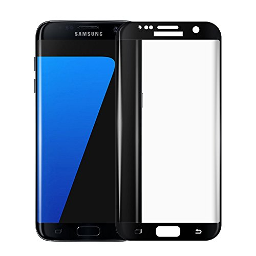 Galaxy S7 Edge Premium Glass Screen Protector [Black], VRURC [No Halo Effects] [Bubble Free] [Edge to Edge] [Full Screen Coverage] Tempered Glass Screen Protector for Samsung Galaxy S7 Edge