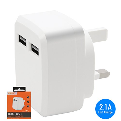 Price comparison product image White UK 3 Pin UK 2 DUAL USB 2.1 AMP / 2000 mAh Fast Charge Mains Charger Plug Adapter for ZTE Blade L5 Plus