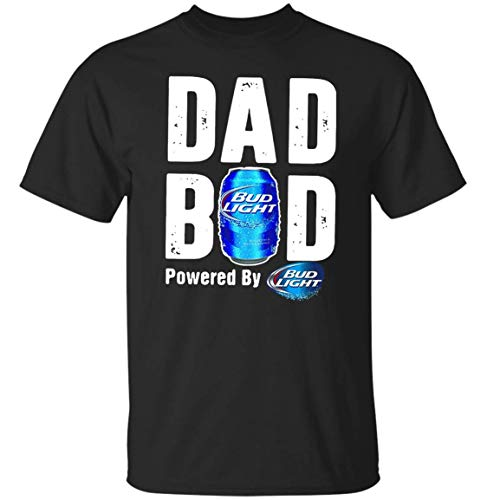 Dad BOD Powered by Bud Light T-Shirt Funny Love Beer T-Shirt (2XL,Black)