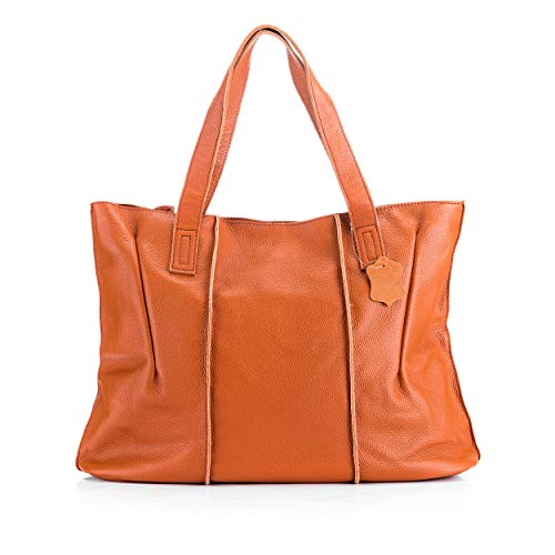 Women's Fashion Genuine Leather Tote Bag Casual Large Top Handle Satchel Handbags Purses (BROWN)