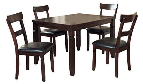 Homelegance Oklahoma 5-Piece Dining Set with Cushioned Bi-Cast Vinyl Seated Chairs, Espresso