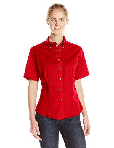 Cotton Blend Blouse (Lee Women's Meridian Performance Twill Plus Size Short-Sleeve Shirt, Red, XX-Large)