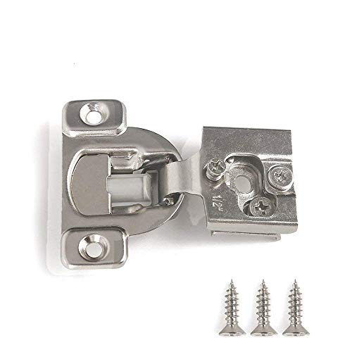 Soft Close Hinge 1/2 Cabinet Door Hardware Compact Overlay Hinges for Frameless Face Frame Nickel Plated - 10 Pack