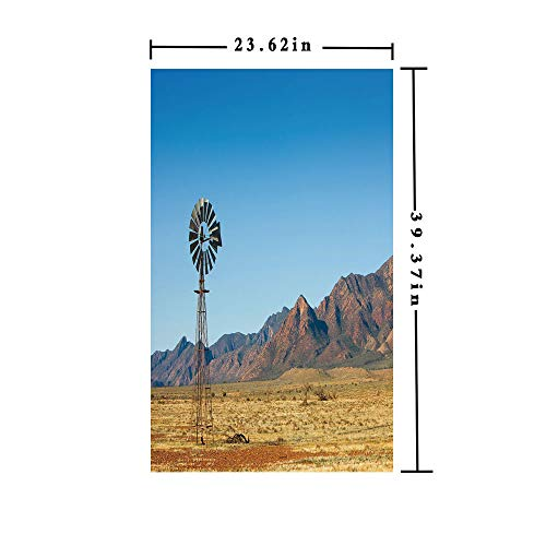 Homenon Window Film Decorate Glass Film 3D Printed,Flinders Ranges South Australia Mountains Barren Land Summer Decorative,W15.7xL63in,No Glue Static Cling Glass Sticker with Earth Yellow Light ()