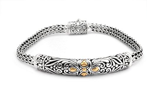 DENI ARYASA STERLING SILVER & 18K SOLID GOLD BRACELET, DRAGON BONE CHAIN 3x5 (Sterling Silver Dragon Bracelet)