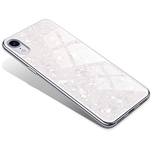 Dailylux iPhone XR Case,Tempered Glass Pattern Painted Mirror Bumper with Shell Pattern Sparkle Bling Cover TPU Edge Case for Apple iPhone XR 6.1 inch,White ()