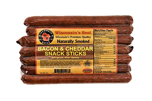 - Wisconsin's Best Bacon and Wisconsin Cheddar Cheese Protein Snack Meat Sticks, 7, 1 oz