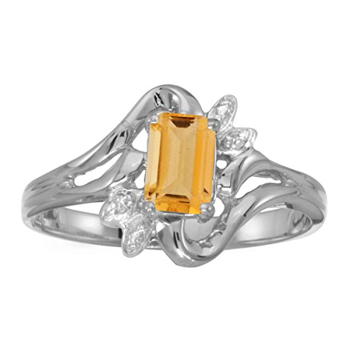 (FB Jewels 14k White Gold Genuine Birthstone Solitaire Emerald-cut Citrine And Diamond Wedding Engagement Statement Ring - Size 7 (2/5 Cttw.))