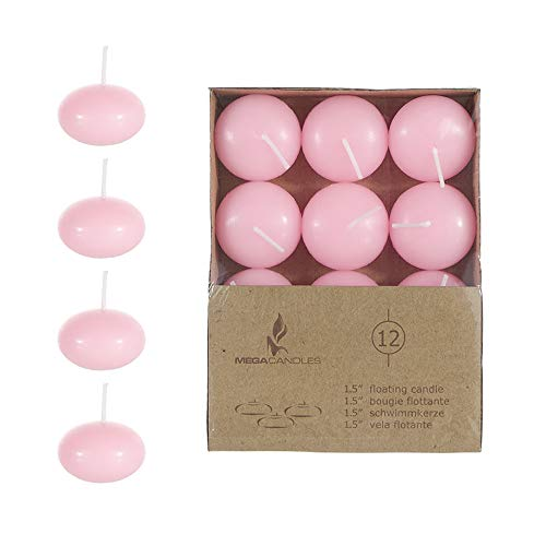 Mega Candles 12 pcs Unscented Pink Floating Disc Candle | Hand Poured Paraffin Wax Candles 1.5