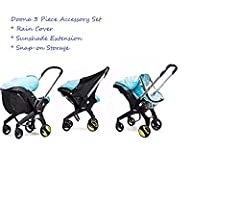 3 Piece Set Includes the Doona rain cover, sunshade extension and snap-on storage bag for your Doona Stroller.