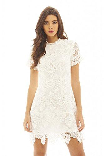 AX Paris Women's High Necked Lace Dress(Cream, Size:6) - Cream Short Sleeve Dress