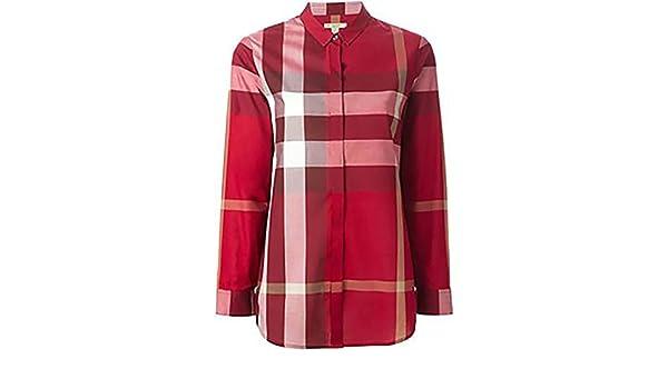 Burberry - Camisa con diseño de cuadros rojos para mujer rojo S: Amazon.es: Ropa y accesorios