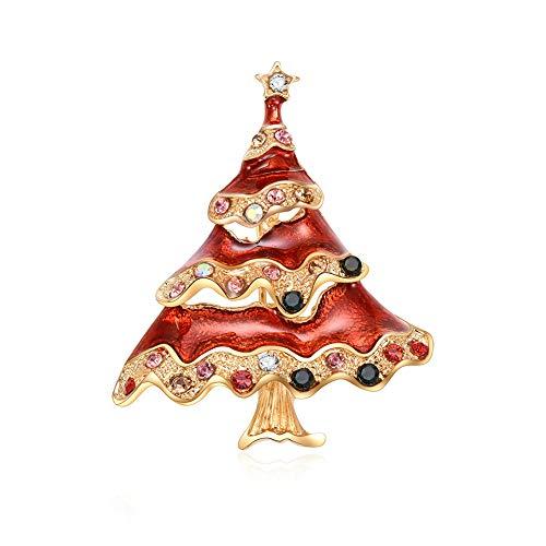CHoppyWAVE Christmas Brooch Pin Tree Inlaid Rhinestone Lapel Badge Enamel Fashion Jewelry Gift - Red ()