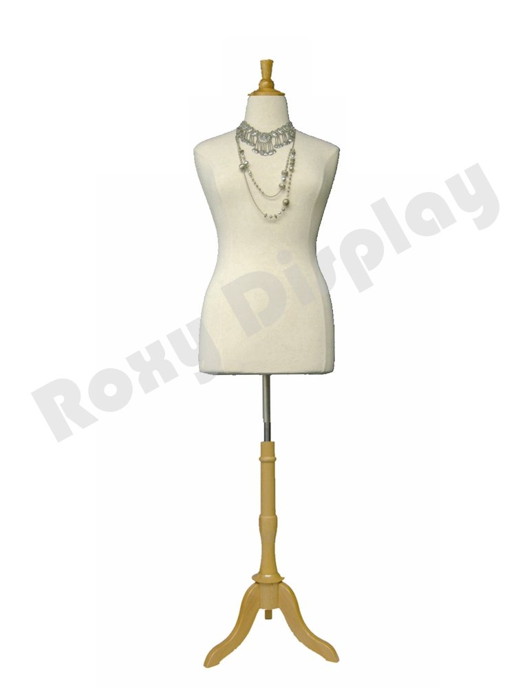 (JF-F10/12W+BS-01NX) Female Foam Dress Form +Natural Wooden Base & Top Roxy Display Inc.
