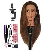 Bellrino 24' 100% Human Hair Cosmetology Mannequin Manikin Training Head with Clamp (24' ETHNIC SKIN (ABBY+SET-NEW) ((ABBY+SET-NEW))