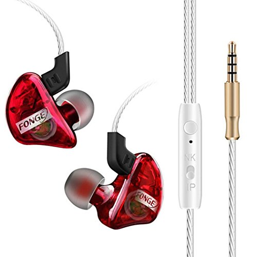 Transparent Heavy Bass Sports Ear-Mounted Music Headphones (Red)