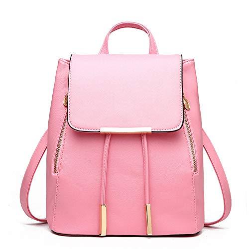 Pelle Capacità Alla Da Studente Pink Media Morbida Con Doppia Donna Zaino A Moda Tracolla In Borsa qRMwgA6wxv