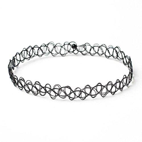 (Leyorie 2pcs Stretch Velvet Classic Gothic Tattoo Lace Choker Bracelet Sexy Wristband Fashion Bangle)