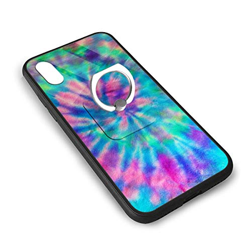 LGOPT Tapestry Green 70S Swirl Spiral Pattern Tie Dye Pink Fashion Personalized iPhone X/XS TPU Glass Phone Case with Square Stents]()