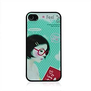 LIMME- Red Glasses Girl Pattern Dull Polish Hard Case for iPhone 4/4S