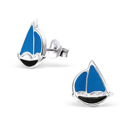 Girls Sailboat Colorful Ear Studs 925 Sterling Silver
