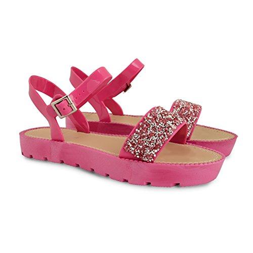 Tilly Shoes Flatform Plataforma Diamante Correa De Tobillo Cleated Sandalias Zapatos Talla - 839-Fuchsia