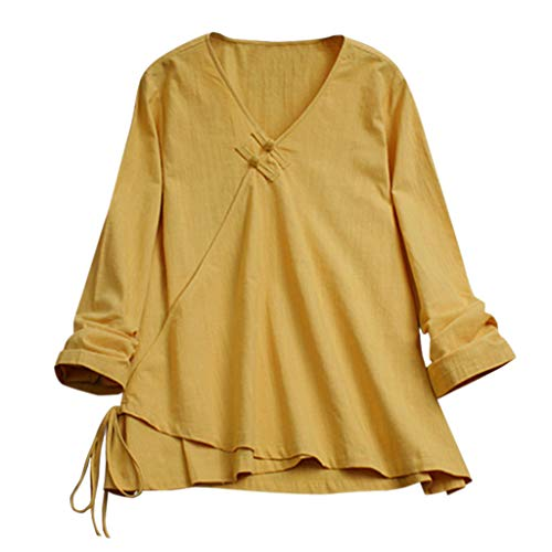 Women's Causal Shirts,YuhooSUN Bamboo Cotton Tops V-Neck Long Sleeve Blouse Buckles Irregular Hem Loose Tunic Summer Yellow