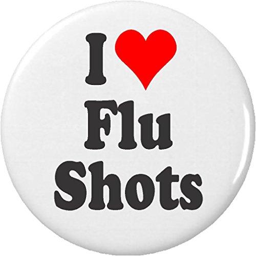 "I Love Flu Shots 2.25"" Large Pinback Button Pin"