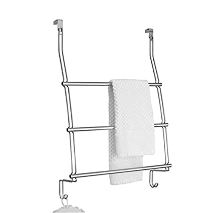 mDesign Modern Decorative Metal Wire Over The Door Towel Rack Holder Organizer with Hooks - for