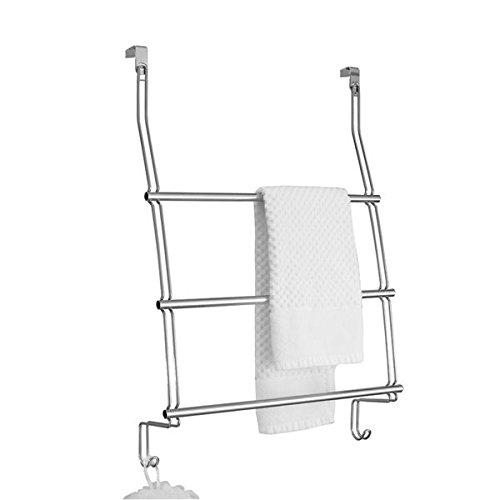 mDesign Over Shower Door Towel Rack for Bathroom - Chrome