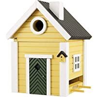 WILDLIFEGARDEN Multiholk Yellow Cottage Birdhouse, Switches from Nest-Box to Feeder, Weather-Resistant Wood, Multiple Mounting Options, Designed in Sweden