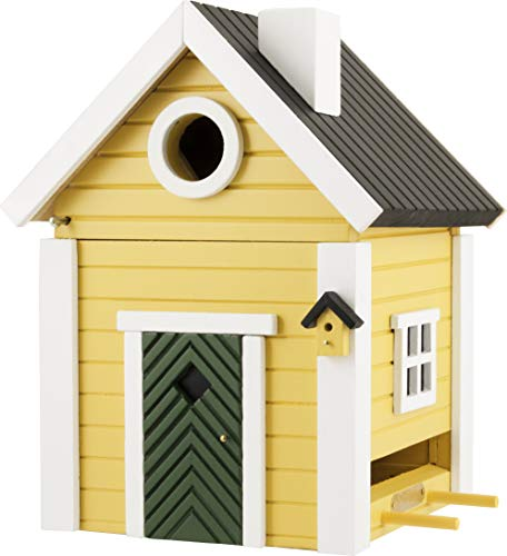 WILDLIFEGARDEN Multiholk Yellow Cottage Birdhouse, Switches from Nest-Box to Feeder, Weather-Resistant Wood, Multiple Mounting Options, Designed in Sweden ()