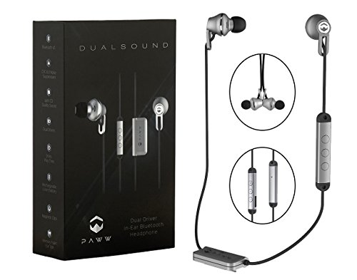 Price comparison product image Paww DualSound Wireless In Ear Headphones | Premium Bluetooth 4.1 Memory Foam Earbuds with Dual Drivers, CVC Noise Suppression, aptX Sound, Magnetic Tips & Rechargeable Battery (Silver/Black)