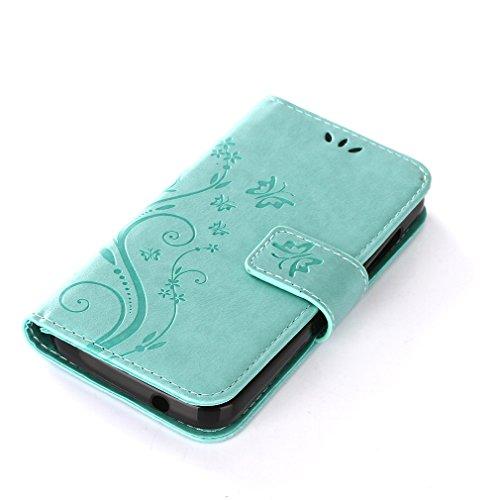 Yiizy DOOGEE X3 Custodia Cover, Erba Fiore Design Sottile Flip Portafoglio PU Pelle Cuoio Copertura Shell Case Slot Schede Cavalletto Stile Libro Bumper Protettivo Borsa (Verde)