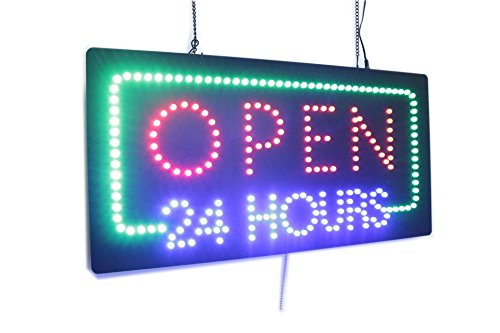 Open 24 Hours Sign, Super Bright LED Open Sign, Store Sign, Business Sign, Windows (Led Store Sign)