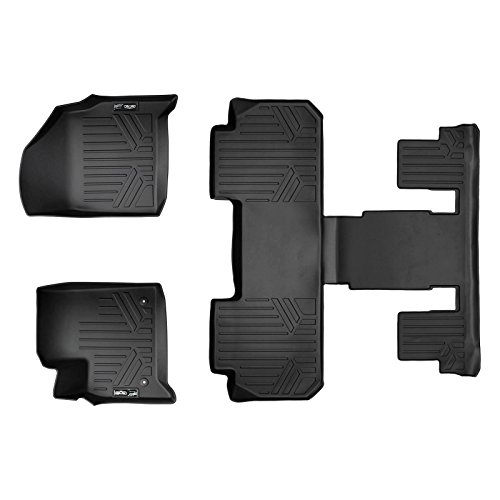 SMARTLINER Floor Mats 3 Row Liner Set Black for 2018-2019 Chevrolet Traverse with 2nd Row Bucket Seats