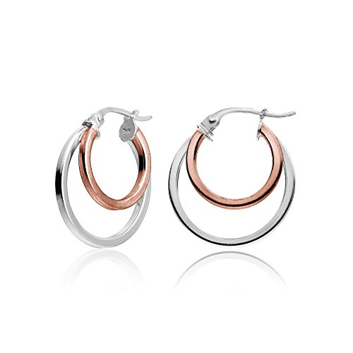 Hoops & Loops Rose Gold Flash Sterling Silver Two-Tone Double Circle Round-Tube Polished Hoop Earrings, ()