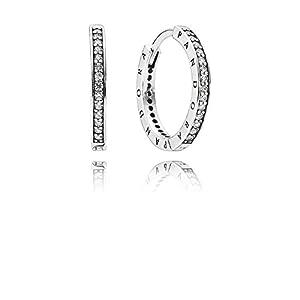 PANDORA 290558CZ Sterling Silver Signature Hoop Earrings (18mm)