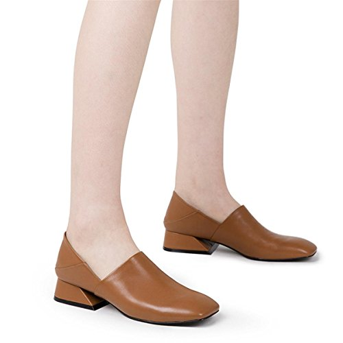 Mode Party Dames Chaussures Fall Slippers Femmes Heel Anti Winter Rough Mid BROWN Head Dérapant la Round Chaussures Work EUR39UK665 Lazy Nouveautés antidérapant Half à NVXIE Retro YFxnx